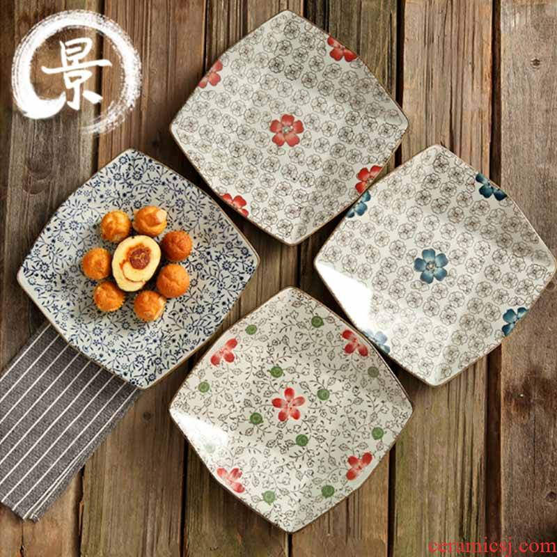 Japanese and wind 8 inch ceramic square plate under the glaze color creative dishes about nine tray of fruit plates tableware