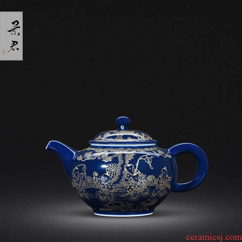 JingJun teapot jingdezhen ceramic teapot pure manual ji blue gold hand - made the lad of single pot CiHu tea set