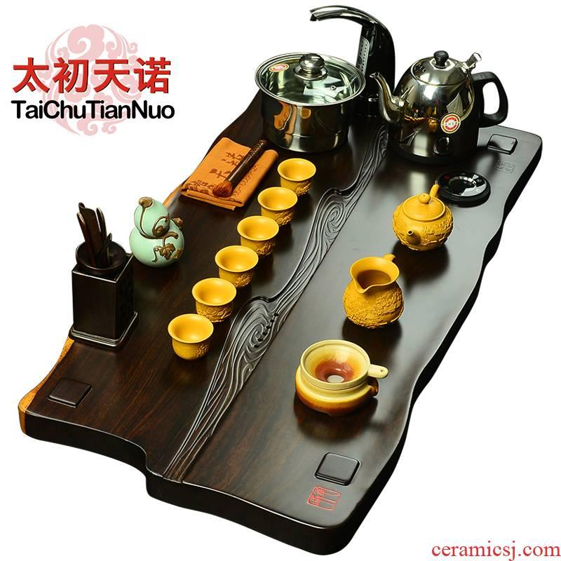 The beginning day, kung fu tea set solid wood tea tray was purple sand tea set four unity ebony annatto tea tea taking