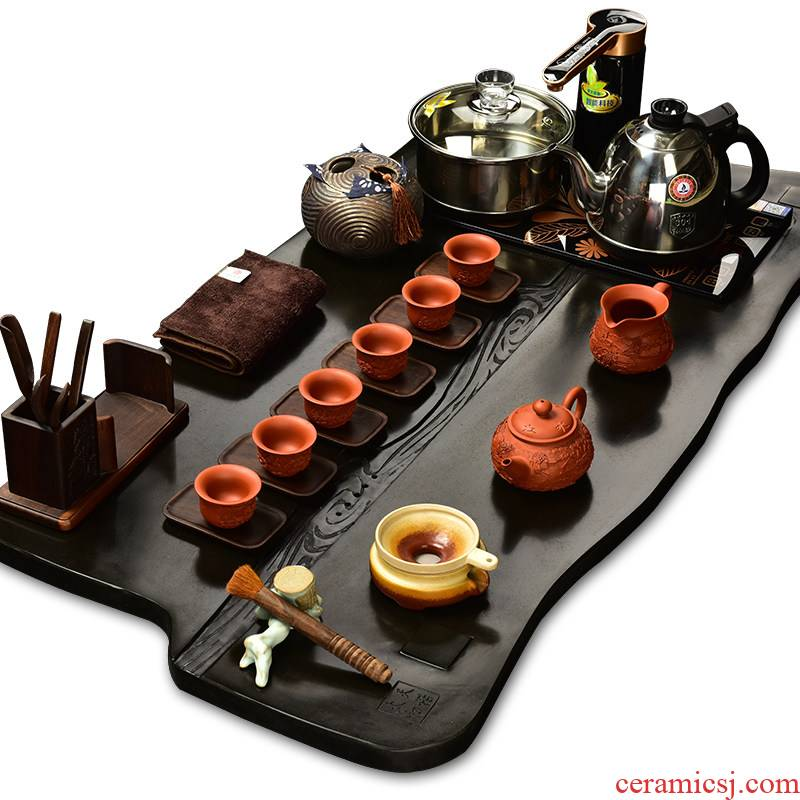 Purple sand tea set the beginning day, kung fu suit the joining together of four automatic intelligent stone tea tray annatto tea pot of tea
