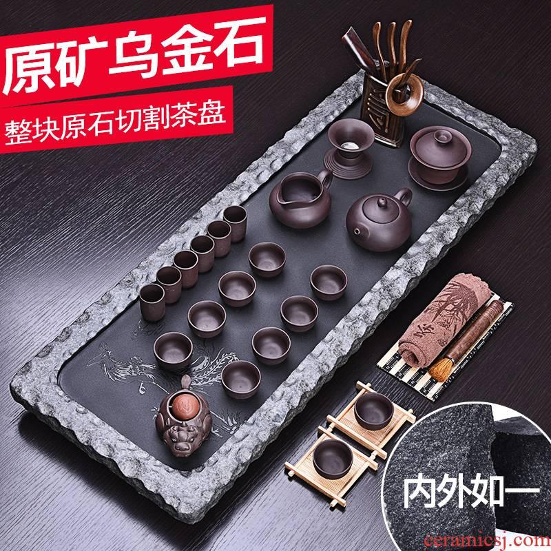 HaoFeng sharply stone tea tray tea tea table set tea service of a complete set of the black sea stone, stone, stone tea tray