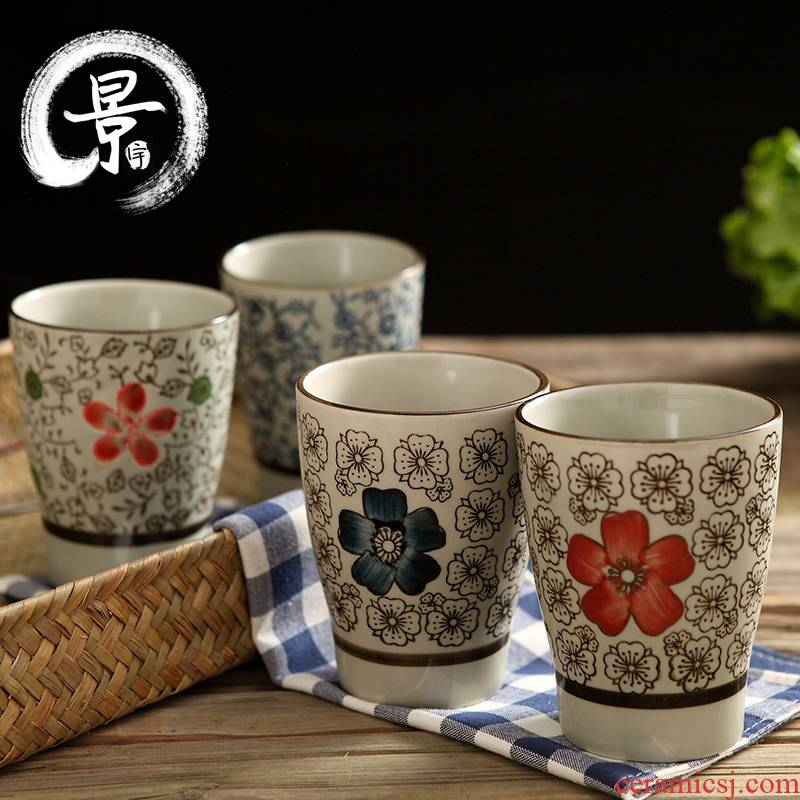 Japanese and wind ceramic keller cup with a cup of creative mugs hand - made contracted a cup of milk cup cup