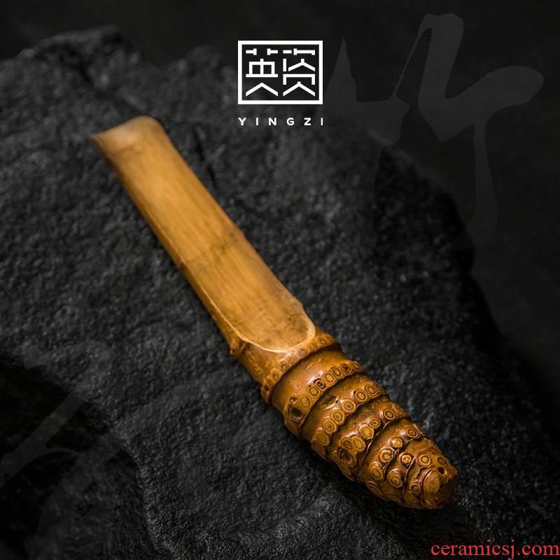 Bamboo root tea spoon, Bamboo Chinese tea shovel zen teaspoon of kung fu tea tea accessories pu - erh tea spoon