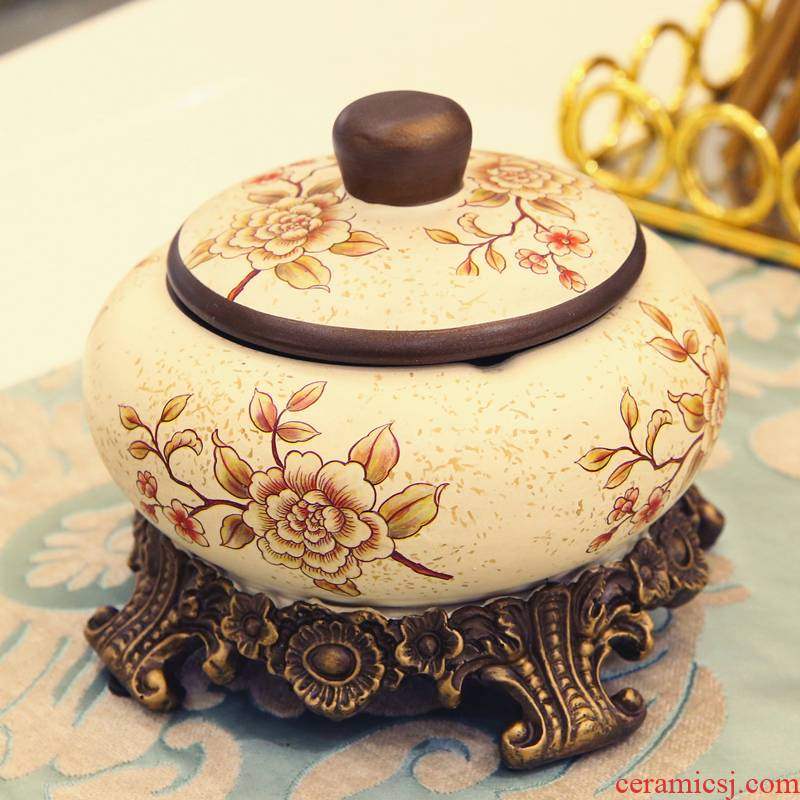 American rural idyll retro creative ashtray with cover sitting room tea table decorations ashtray room move furnishing articles