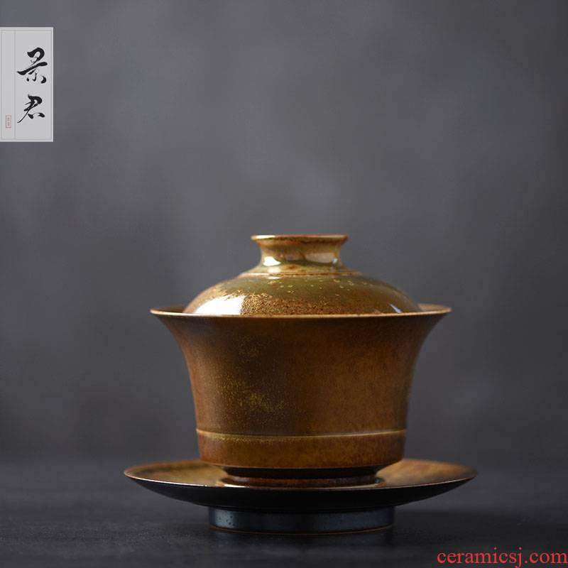 JingJun jingdezhen manual variable glaze thick clay tureen only three bowl of kung fu tea cups coarse pottery tureen tea cups