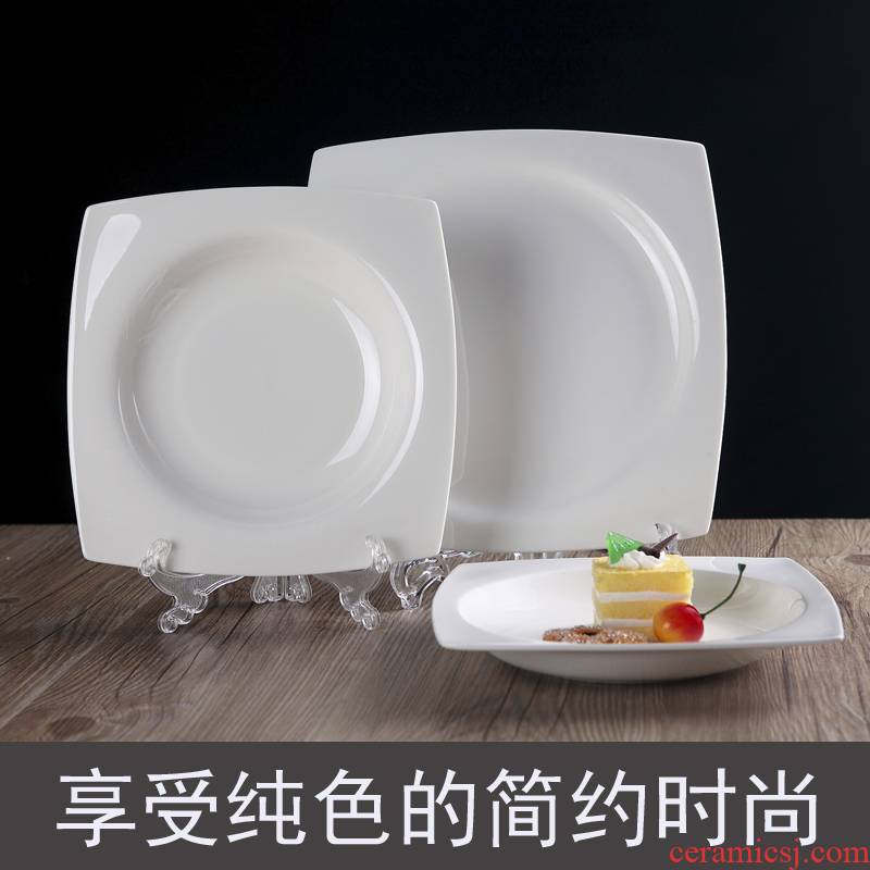 The New ipads China jingdezhen ceramic tableware hotel with pure white square platter compote tianyuan soup dish plate