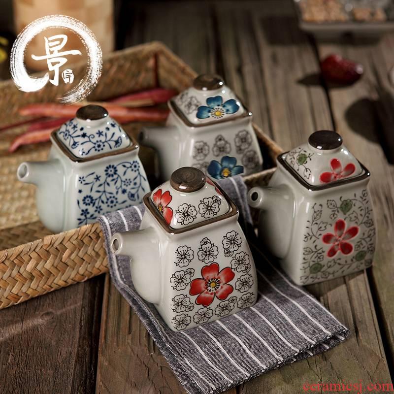 Japanese ceramics feng oil can creative caster vinegar pot under the glaze color bottle of vinegar pot seasoning jar of hot pepper sauce