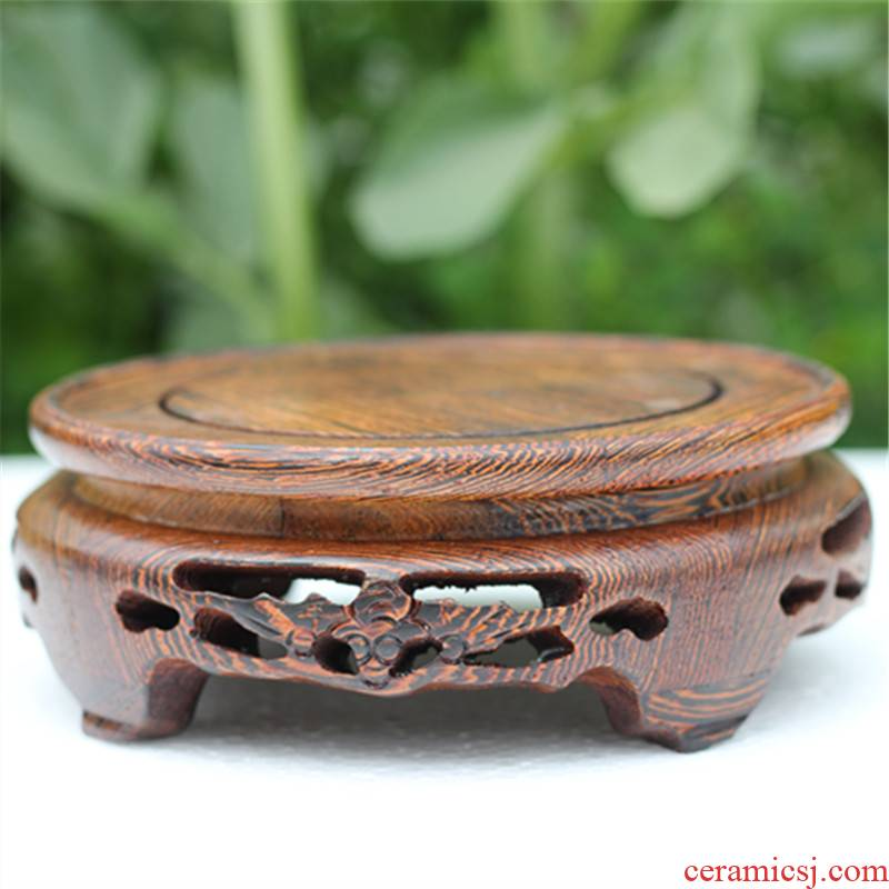 The New Chinese teapot tap vase jade Buddha put frame wenge log mahogany round the base seat
