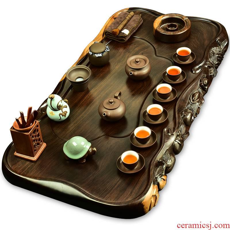 The beginning day, ebony tea tray was kung fu tea set solid wood carved sea are it tea tea tea tea table