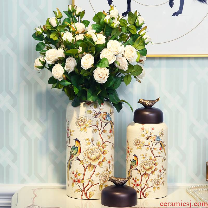 Flower fox American country ceramic painting of flowers and creative storage tank furnishing articles home sitting room desktop ornaments