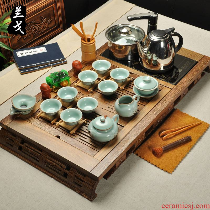 Having high - end wenge wood tea tray induction cooker four one a complete set of your up to calving kung fu tea set