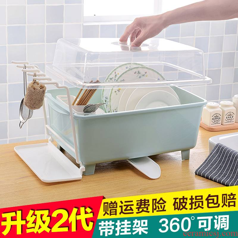 Kitchen waterlogging under caused by excessive rainfall plastic bowl frame with cover large bowl chopsticks tableware cupboard shelf receive a box to put the dishes plate