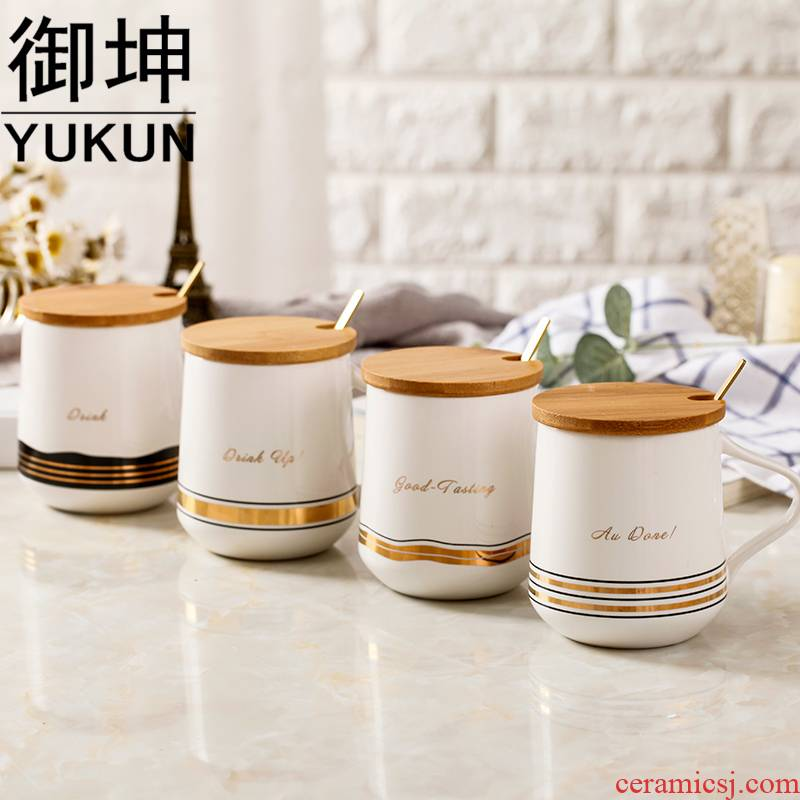 Royal of the Nordic contracted hand - made up phnom penh high - capacity ceramic household with ladle cover breakfast cup office fresh coffee cup