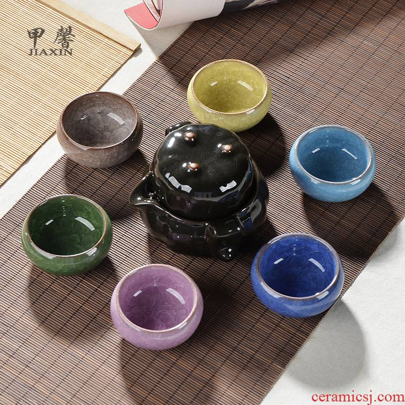 JiaXin a complete set of tea sets and colorful ice crack ceramic kung fu tea set pumpkin pot of crack cup group