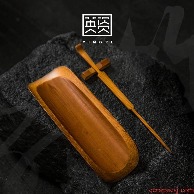Old bamboo tea boat coal was ChaZhen three - piece tea accessories checking bamboo tea holder ChaZhen kung fu tea pu - erh tea
