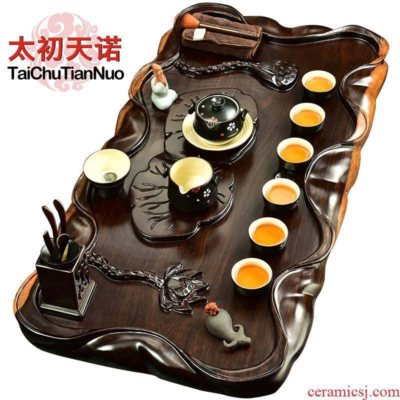 The beginning day, annatto kung fu tea set ebony wood, Japanese tea tray tea sea black glaze tureen ceramic its