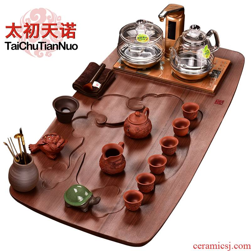 The beginning day, purple sand tea set red TanShiHong jade tea tray was full of a complete set of intelligent induction cooker four unity