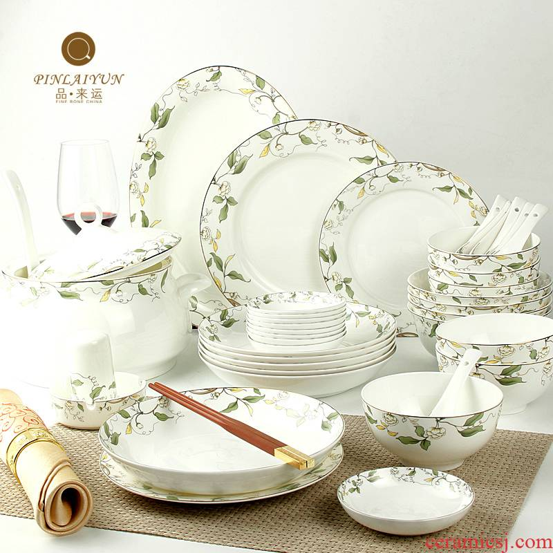 The dishes suit 50 heads of household tangshan ipads porcelain tableware suit to use suit Korean dishes suit ceramic dishes