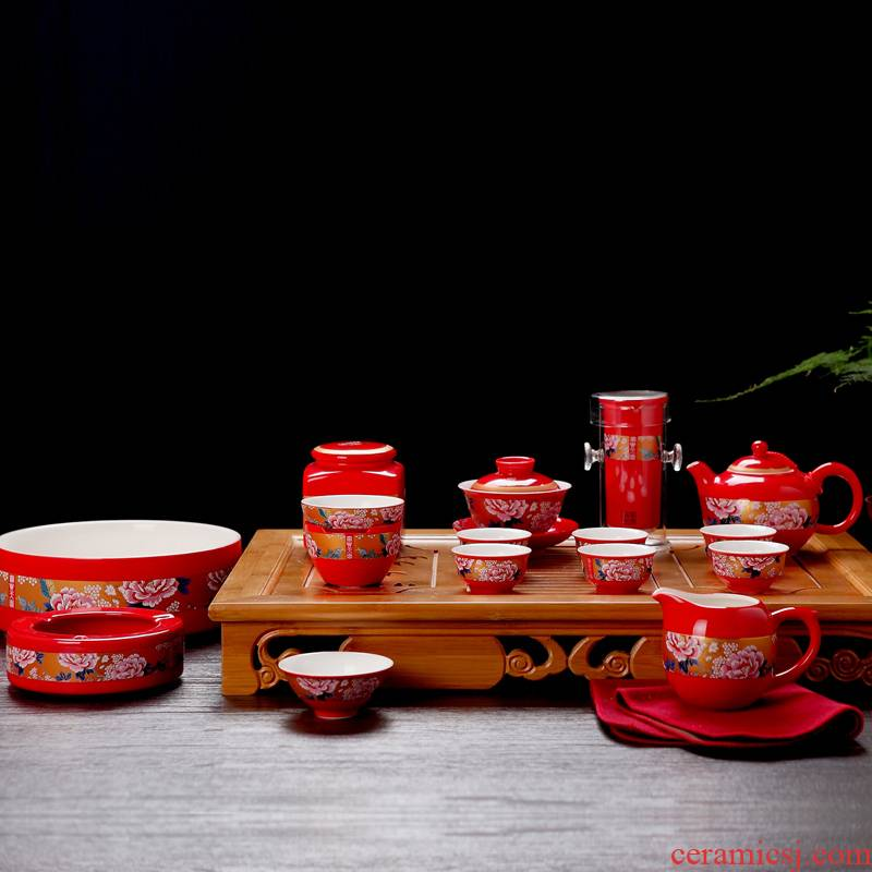 Wedding gifts was a whole set of jingdezhen ceramic tea set Chinese red kung fu tea set Wedding gift hardcover