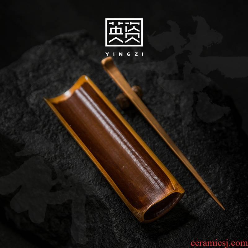 Old bamboo tea coal was ChaZhen three - piece tea accessories furnishing articles Japanese zen bamboo kung fu tea tea holder, pu - erh tea