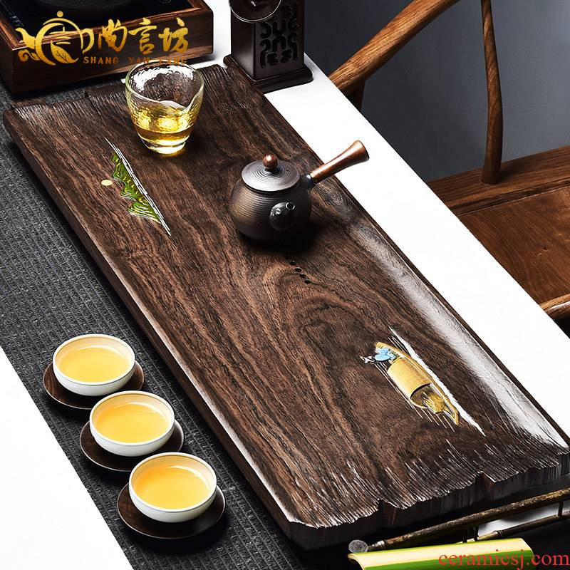 It still fang wood blocks the log tea table ebony ground tea tea saucer drainage kung fu tea set