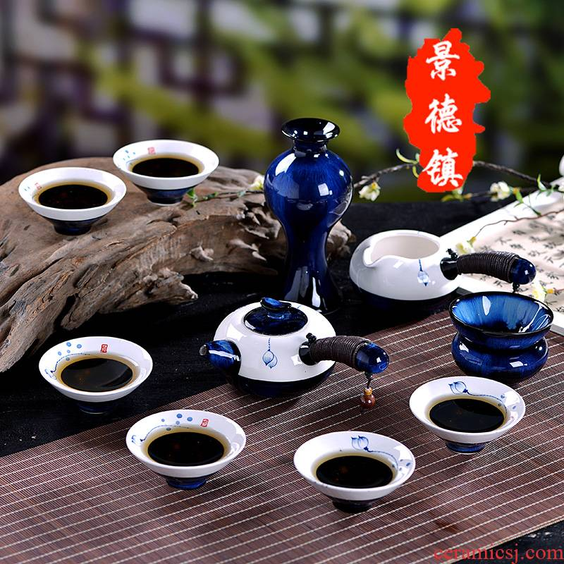 Jingdezhen hand - made kung fu tea set suit household ceramics up tea set a complete set of contracted teapot teacup gift boxes