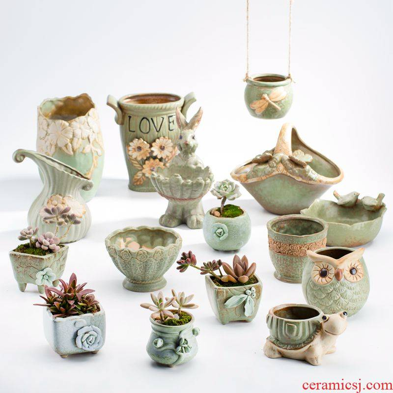 Creative move cuhk small lovely caliber meat meat the plants flower pot Nordic I and contracted wind ceramic sale