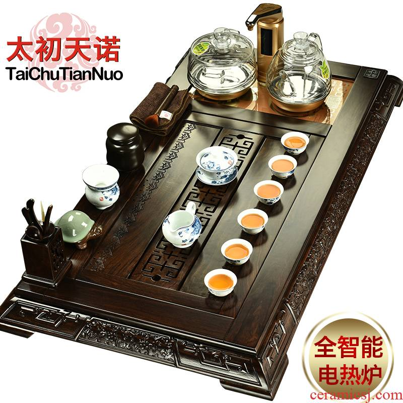 The beginning day, a complete set of tea sets ebony tea tray and four electromagnetic heat furnace glass pot of purple sand tea set