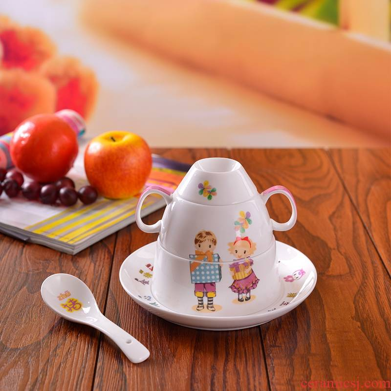 Porcelain, jingdezhen ceramic ipads China cartoon express Chinese zodiac tableware children head dishes spoon cup five birthday gift
