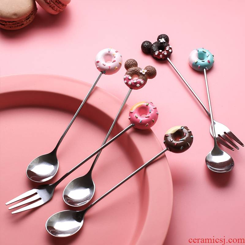 Sichuan island house express cartoon stainless steel ice cream run home fruit fork spoon coffee children tableware spoons
