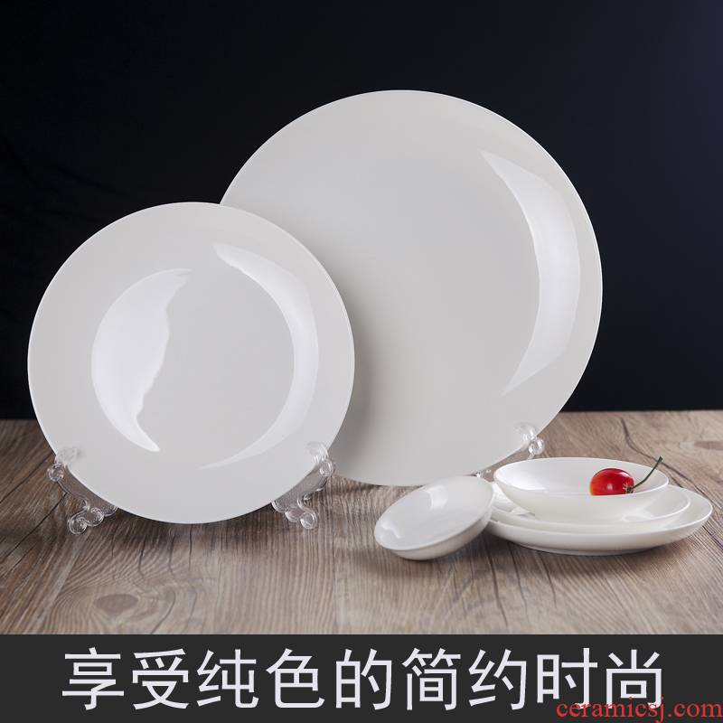 Tableware ipads porcelain of jingdezhen ceramic discs of pure flavor dish on CD, cold dish plate flat hotel Tableware fittings