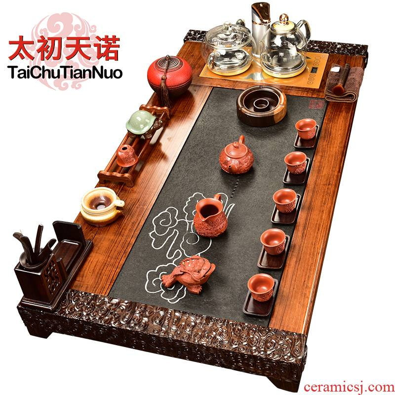 The beginning day, violet arenaceous kung fu tea set sandalwood carved mahogany four one automatic stone tea tea tray furnace