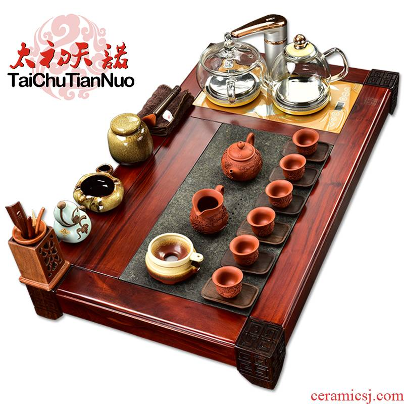 The beginning day, sour branch annatto tea tray was kung fu tea set purple sand tea sets of automatic glass furnace four unity
