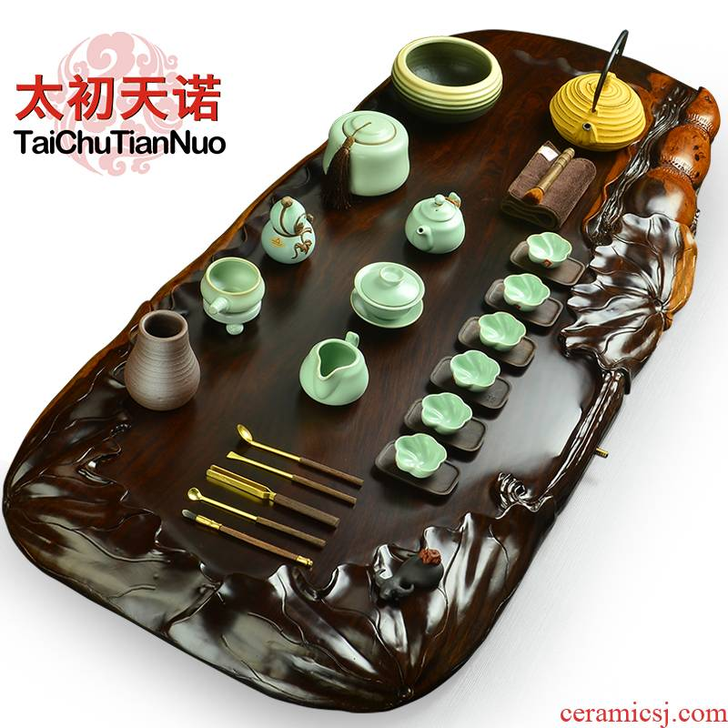 The beginning day, The porcelain of a complete set of kung fu tea set ebony wood annatto tea tray was Japanese tea tea tea art