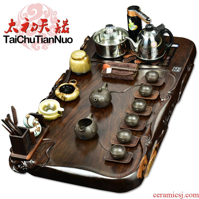 The beginning day, real wood, kung fu tea set four unity glass automatic pumping spend pear ebony tea tray tea stove