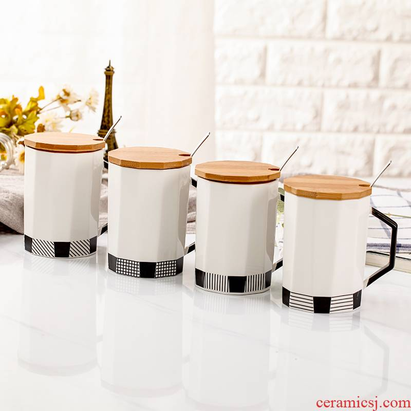 Royal of the Nordic contracted ceramic keller with spoon cover move and fresh water cup large - capacity glass that occupy the home office