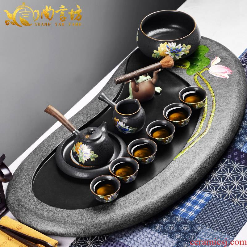 It still lane blocks sharply stone tea tray automatic kung fu tea set tea sea lazy household contracted and I