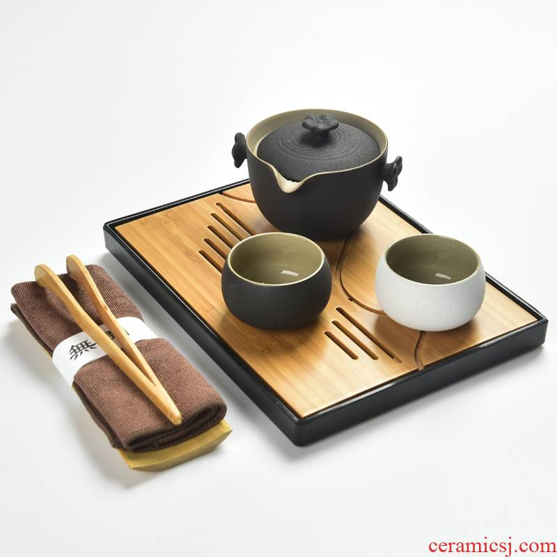Black pottery home zen crack cup a pot of 2 cup travel office personal kung fu tea set tea cup