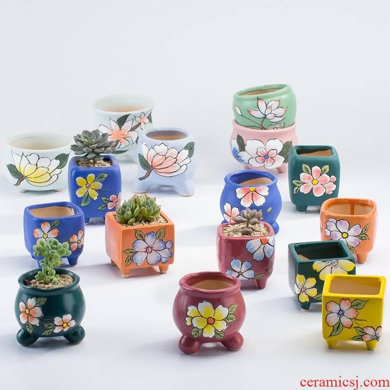 Hand - made combination household creative move small lovely delay jubilee set coarse pottery breathable fleshy flowerpot ceramics