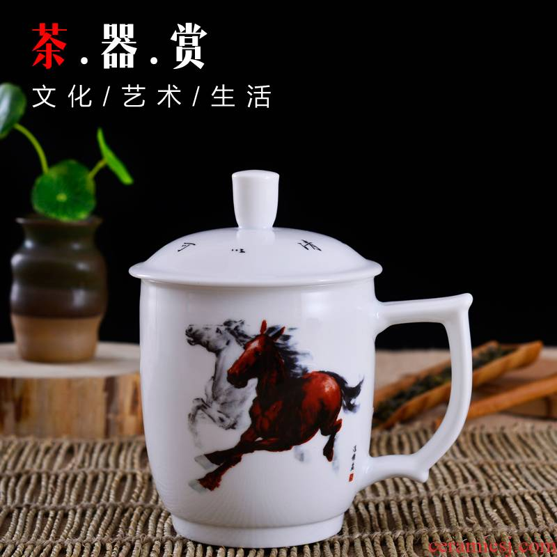 Porcelain, jingdezhen ceramic cups China dream double insulation success led dedicated tea cups with cover