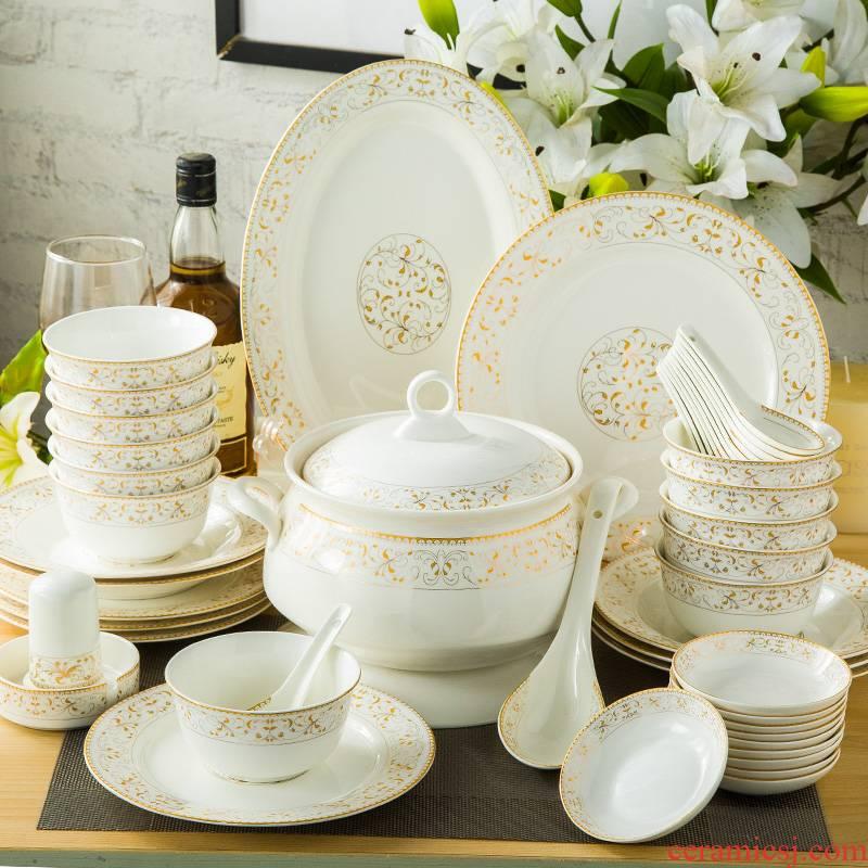 28 head 56 ipads porcelain of jingdezhen ceramics tableware suit dishes dishes Korean household housewarming gift set