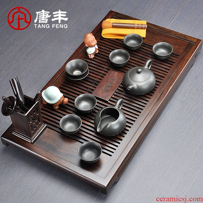 Tang Feng kung fu tea sets purple sand cup combination ebony wood tea tray of a complete set of household contracted and I z