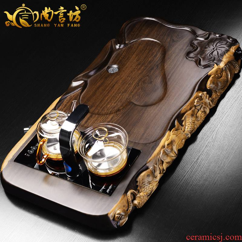 It still fang the whole piece of ebony log kung fu tea tea tray was solid wood tea sets automatic four unity of electric heating furnace