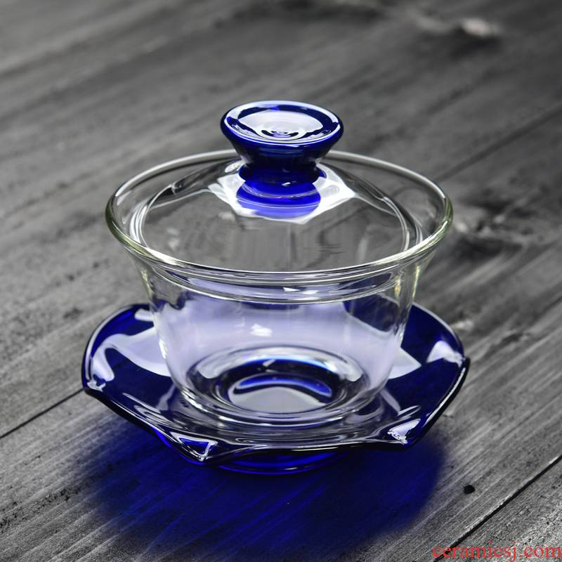 Manual Pyrex tureen only three tureen thickening bowl cover cup to make tea bowl of tea for large equipment