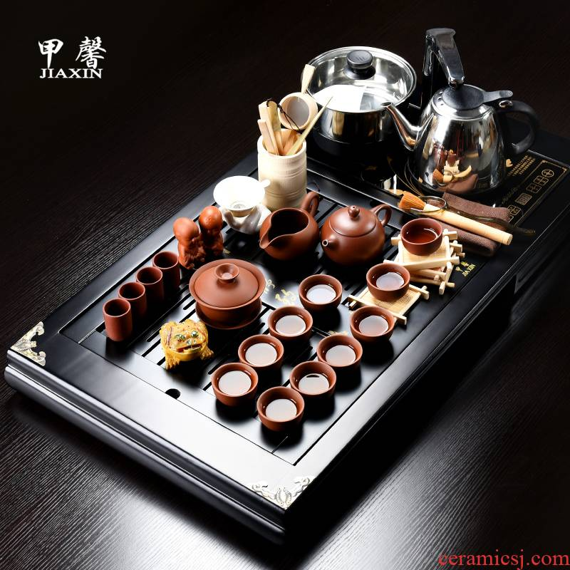 JiaXin zhu mud purple sand tea set home four unity of real wood of a complete set of kung fu tea tray was rectangular drainage of tea table