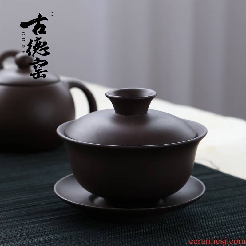 Yixing undressed ore violet arenaceous tureen kung fu tea tea prepared three worship to use cups large teapot teacup