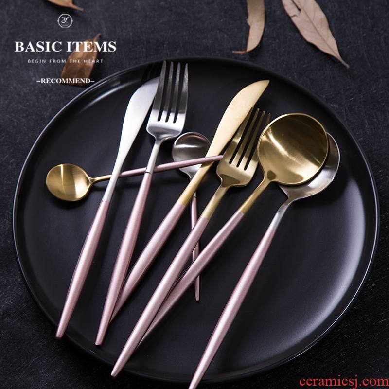 European ins steak knife and fork spoon, three - piece stainless steel knife and fork spoon, continental food tableware suit covered 4 times