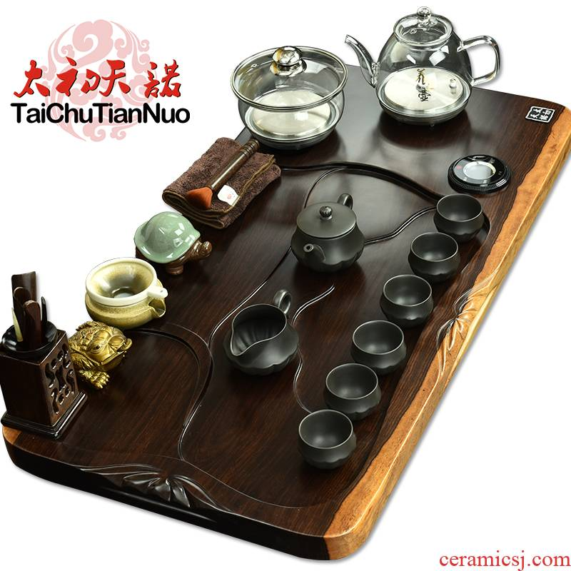 The beginning day, kung fu tea set solid wood tea tray tea automatic pumping glass pot of automatic tea service of tea table
