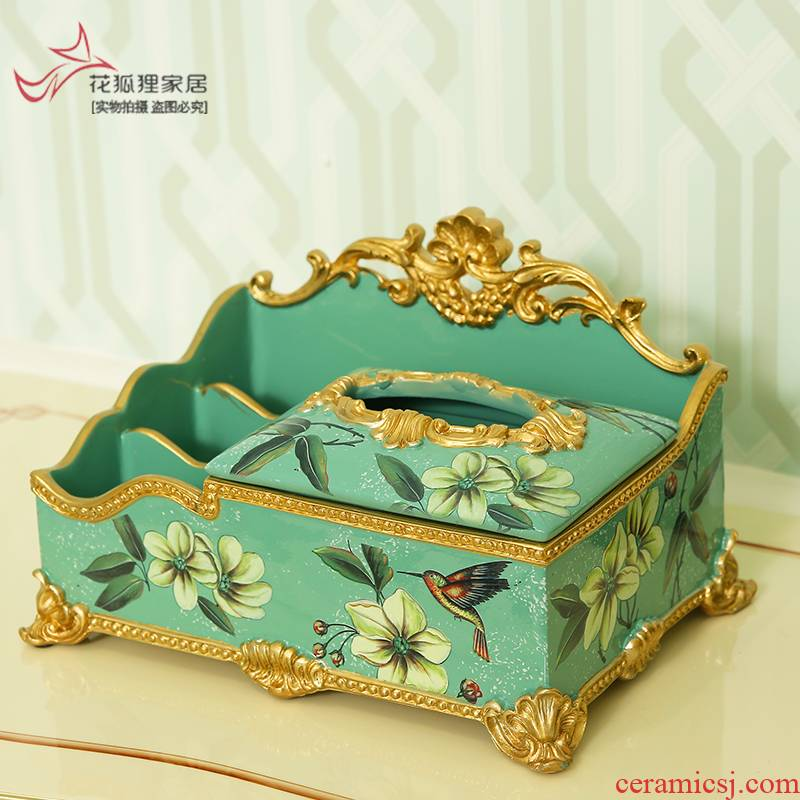 Europe type multifunctional tissue boxes sitting room tea table decorations decoration cosmetics receive a case American smoke box remote control