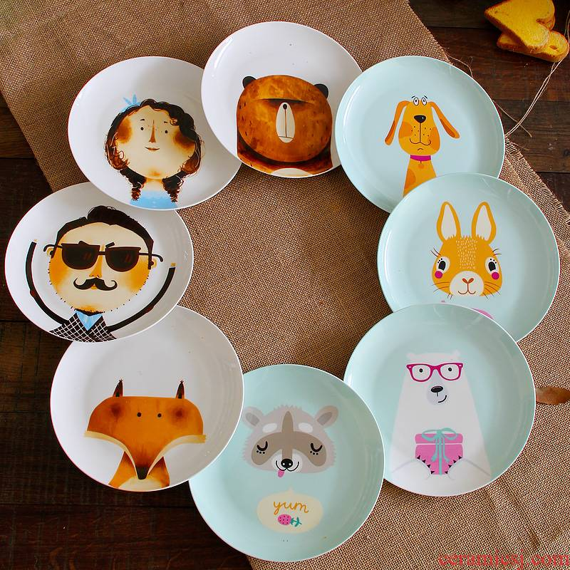 Ipads China cartoon dish ceramic plate of children offer creative beefsteak snack plate cartoon China plate